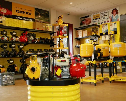 Davey pumps & water products display.